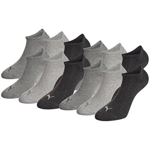 Puma Sneaker-Socken, unsichtbar, 12Stück, anthrazit, 12 Paar 39/42