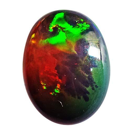 AAAA+ - Cabochon in opale nero naturale, opale welo etiope, dimensioni 17 x 12 x 5 mm, retro piatto, levigato, opale lampeggiante per anello, cabina AG-14259