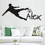 Pegatina de pared con nombre personalizado de deportes de fútbol de 57X130 cm, decoración del hogar, calcomanía extraíble, póster de pared...