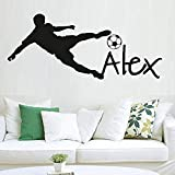 Pegatina de pared con nombre personalizado de deportes de fútbol de 57X130 cm, decoración del hogar, calcomanía extraíble, póster de pared impermeable, papel pintado de vinilo de material de PVC