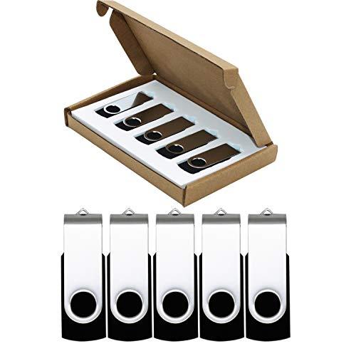 USB Flash Drive 32GB 5 Pack Thumb Drives USB 2.0 Flash Drive Jump Drive Bulk Memory Sticks Zip Drives Swivel Keychain Design 5 Pieces Black