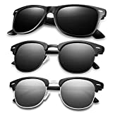 Polarized Sunglasses for Men Women, Mens Womens Sunglasses 3 Pack HD Vision Lens with Advanced Composite Coating UV Protection Retro Sun Glasses