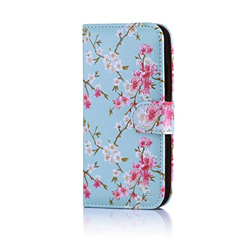 32nd Floral Series - Design PU Leather Book Wallet Case Cover for Motorola Moto G5, Designer Flower Pattern Wallet Style Flip Case With Card Slots - Spring Blue