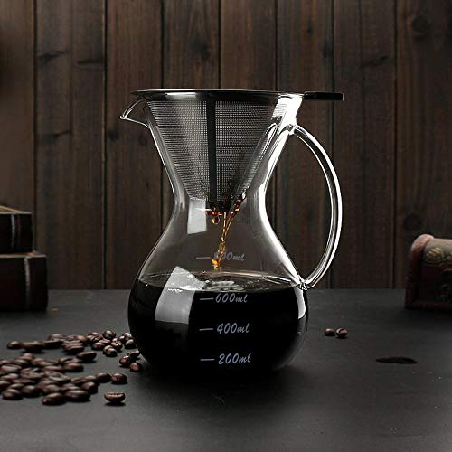 Sheny Pour Over Kaffeebereiter Hand Kaffee Edelstahl Handfilter +Glaskörper 800ml