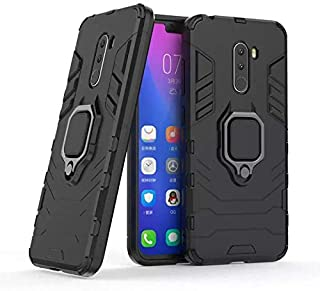 Xiaomi PocoPhone F1 Iron Man Case With Metal Ring & Magnetic Car Holder - Black