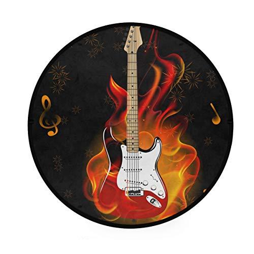 CPYang Teppich, Musiknote, Gitarre, Feuerwerk, rutschfest, rund, für Aktivitäten im Wohnzimmer, Schlafzimmer, Flur, Heimdekoration, Durchmesser: 92 cm