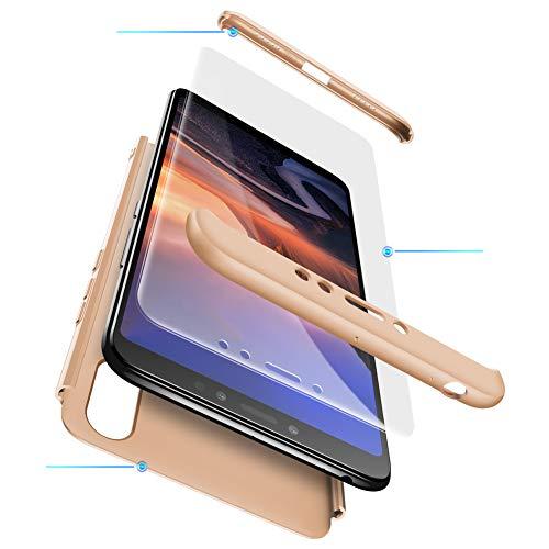 TiHen Funda para Xiaomi Mi MAX 3 Funda 360 Grados Integral para Ambas Caras + Cristal Templado 2 Piezas, Luxury 3 in 1 PC Hard Skin Carcasa Case Cover para Xiaomi Mi MAX 3,Oro