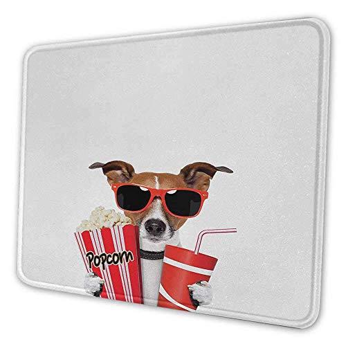 N\A Cine Alfombrilla de ratón Personalizada Perro Divertido con Gafas de Sol Viendo una película con Palomitas de maíz y Alfombrilla de ratón con Estampado de Soda para Mujeres Bastante Multicolor