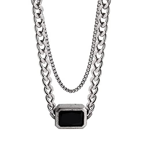 YAZHUANG8 Collares para Mujer Collar Doble de Acero de Titanio Clavícula Suéter Cadena Colgante de Gama Alta