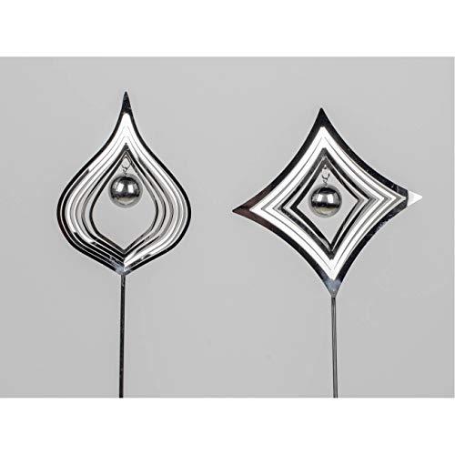 formano 2er Set Gartenstecker Tropfen + Karo H. 80cm Silber aus Edelstahl F20