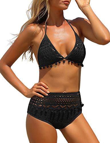 luvamia Women's Two Pieces Crochet Lace Halter Bikini Set High Waist Tassel Swimsuit Black Size Medium