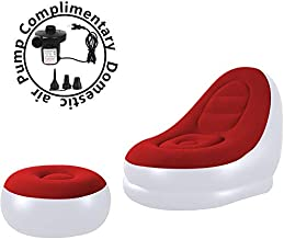 unhg Inflatable Deck Chair with Household air Pump, Lounger Sofa for Indoor Living Room Bedroom, Outdoor Travel Camping Picnic (White and red)
