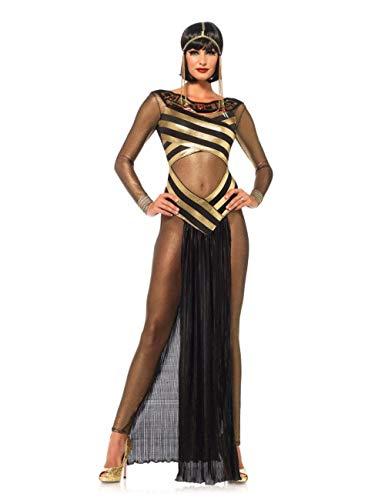 KHDFYER Ropa Erótica para Mujer Sexy Reina del Nilo Adulto Faraón Egipcio Reina Cosplay Disfraz Mujer Halloween Cosplay Egipcia Cleopatra Oro Vestido Largo-M_A
