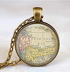 Collar con mapa de Cape Cod Map, colgante de mapa de bacalao del cabo, joyería con colgante de mapa con bolsa de regalo