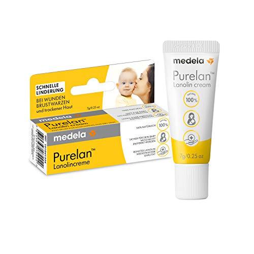 Medela Purelan Brustwarzensalbe, 7g, Lanolin Creme, schnelle Linderung bei wunden Brustwarzen und trockener Haut