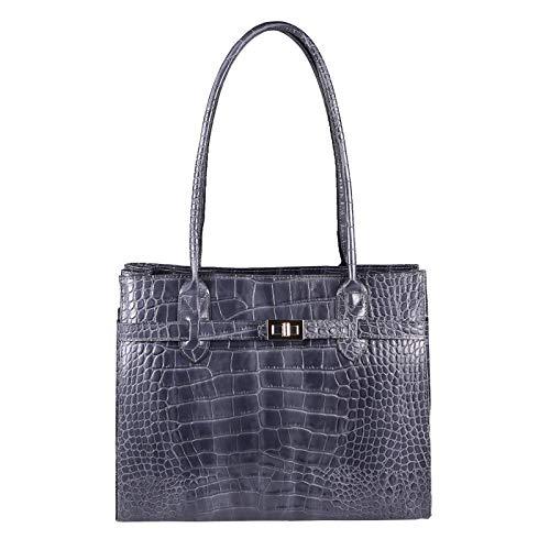 OBC Made in Italy Damen Echt Leder Tasche Kroko-Prägung Business Shopper Aktentasche Schultertasche Handtasche Ledertasche Umhängetasche DIN-A4 Tote Bag (Grau (Kroko))