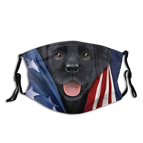 Patriotic Black Lab Pup Face Cover Outdoor Bandanas Neck Gaiter Balaclava Mouth Mask 1 Pcs