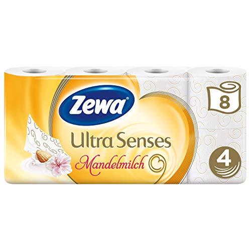 Zewa Deluxe Mandelmilch Toilettenpapier 4-lagig (8 Rollen x je 135 Blatt)