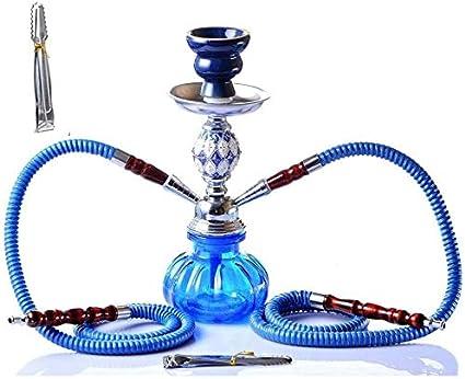 Enjoy4Health Juego de cachimba árabe de 11 pulgadas, 2 mangueras, portátil, Shisha Hookah, cuenco con pinzas de shisha y tazón de cerámica para un mejor fumar de narguile (color: B)