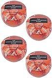 THE LONDON FRAGRANCE STORE - Vela perfumada de lujo, 4 unidades, aroma de fresa de verano, nuestra fórmula de cera inteligente dura más tiempo - mecha de algodón de calidad - 77 mm de diámetro rojo