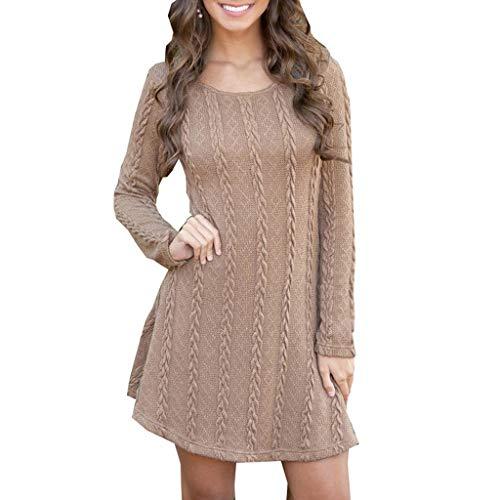 Loveso Damen Strickkleid Elegante Pulloverkleid mit Zopfmuster A-Linie Stretch Kleid Freizeitkleider Langärmeliges Kleid Strickpullover für Winter Herbst