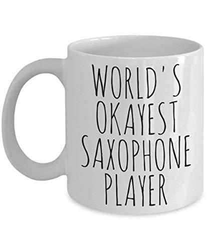 Lplpol Worlds Okayest - Taza de saxofonista con texto en