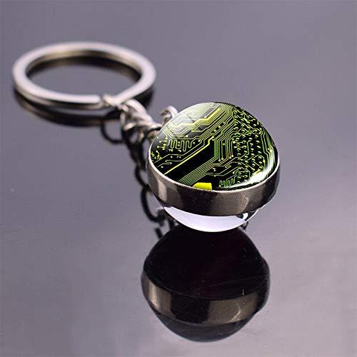 ASTAOT Schlüsselbund,Schlüsselanhänger,Platine Bild Glas Ball Keychain Computer Geek Anhänger Schlüssel Kette Metall Schlüssel Ring Nerd Geek Geschenk-Size 12
