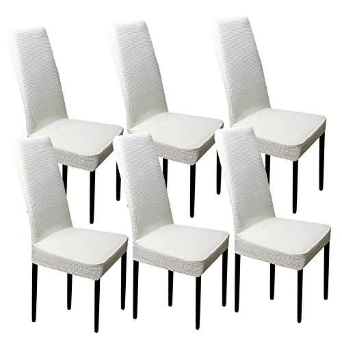 Heyesupio - Juego de 6 fundas de silla de comedor elásticas para comedor y sillas, color blanco