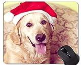 Mauspads, Gaming-Mauspad, Pet Santa Hat Dog Golden Retriever - Genähte Kanten
