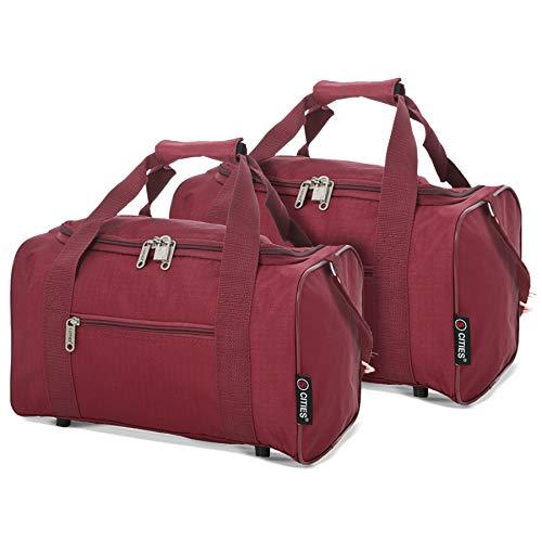 5 Cities Maximum 35x20x20 Ryanair Cabin Hand Luggage Holdall Flight Bag, Set of 2 (Wine)