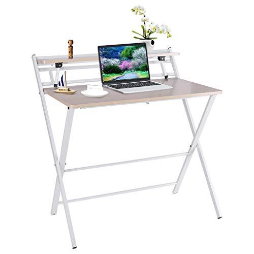 Funic US Fast Shipment - computadora plegable de 2 capas, mesa de estudio plegable para computadora portátil pequeño espacio en casa, no requiere montaje (80 x 50 x 72,5 cm), color blanco