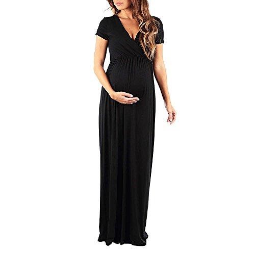 Manadlian Femme Robe de Maternité Nuisette Robe de Grossesse Chic Chemise de Nuit d'allaitement Couleur Unie Robe Longue Femme Soiree Maxi Robe