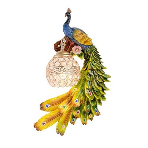 KIHUGL Lampada da Parete di Lusso Europea Bohemia Peacock LED Lustre Paralume in Cristallo Applique da Parete Camera da Letto Lampada da Parete in Resina da Comodino Right