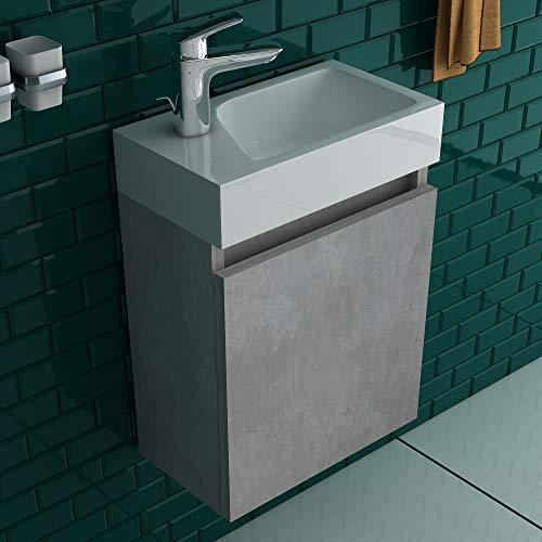 Alpenberger Lugano 400(Cement) Vormontiertes 40cm Badmöbel-Set | Waschbeckenunterschrank mit Soft-Close Funktion | Elegante&Platzsparende Einrichtungslösung…
