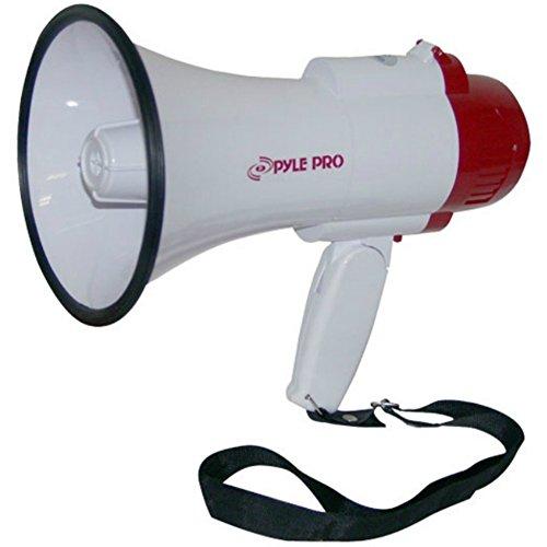 MEGAPHONE PYLE PMP30 ROUGE ultra léger 30 W avec sirène - audible jusqu'à 750 mètres - courroie de transport Fonctionne à piles