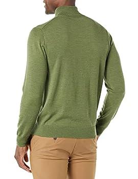 Goodthreads Merino Wool Quarter Zip Sweater Pull, Olive d'or, L