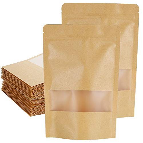 200 Pack 5.9 x 8.7 Inch Stand Up Kraft Bags with Clear Window, Stand Up Ziplock Seal Paper Bag Pouch Bags, Resealable Large Food Storage Pouch Bags, Heat-Sealable and Tear Notch