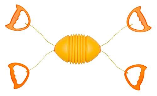Idena 40097 - Boingball Spiel, Rucki Zucki für Kinder und Erwachsene, mit Ball, zwei Zugseilen und 4 Griffen, ideal für Sommer, im Garten oder Park