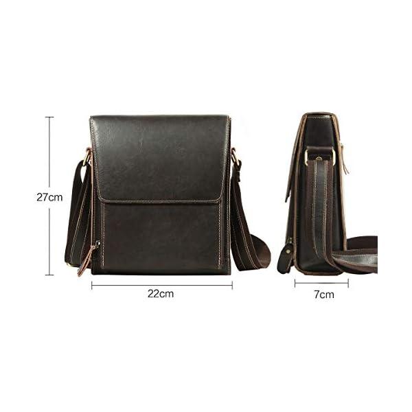 41vanCKbwDL. SS600  - Leathario Bolso de Hombre de Cuero autentico Bandolera de Piel Bolsos de Hombro para Diario con tamaño Mediano de Estilo Retro Vintage Color marrón