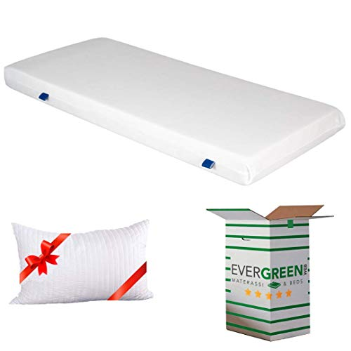 EVERGREENWEB - Materasso Singolo 80x190 in Waterfoam ORTOPEDICO alto 15cm con Cuscino Memory Foam GRATIS Rivestimento in AIR SPACE Bianco tessuto Traspirante Anallergico per tutti Letti o Reti OFFERTA