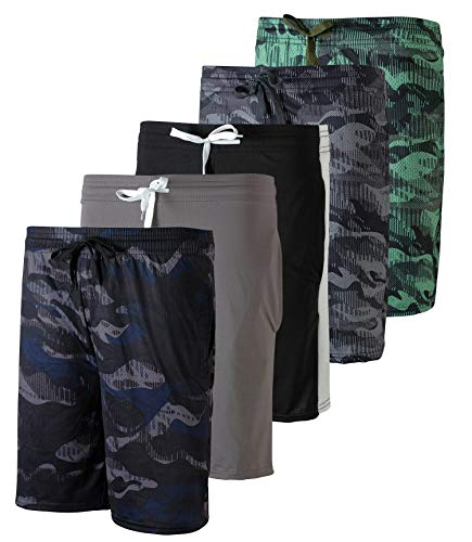5 Pack: Big Boys Girls Youth Teen Printed Shorts Camo Mesh Dry-Fit Sport Active Athletic Knit Mesh Basketball Soccer Exercise Running Lacrosse Tennis Performance Gym Teen Clothing-St 2,L (12/14)