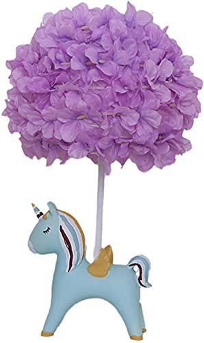 Romantisk lila bordslampa tecknad barn tyg skugga säng nattlampa harts elefant ponny bas dekorativa skrivbordslampor bästa gåva för flickvän