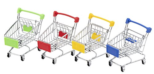 Juvale Mini Supermarket Handcart, 4 Pack Mini Shopping Utility Cart Mode Storage Toy, 4 Colors - Blue, Yellow, Green and Red