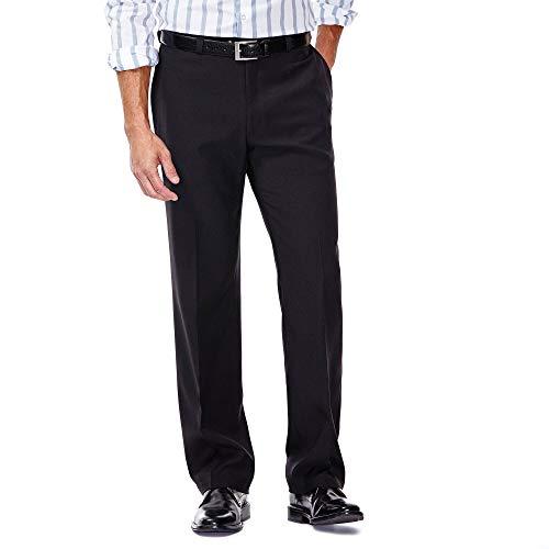 Haggar Men's Eclo Stria Expandable-Waist Plain-Front Dress Pant Black 38x29