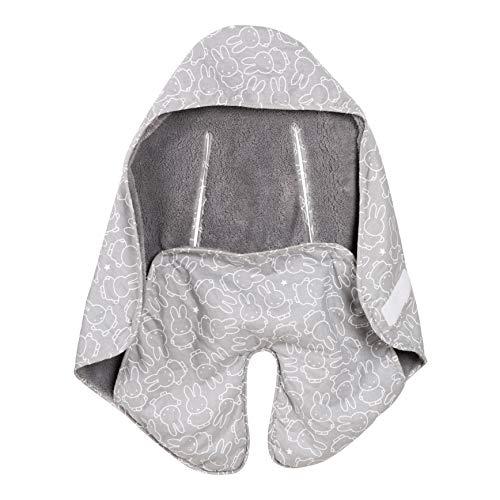 """roba 306117V210 Baby-Einschlagdecke """"Miffy"""" mit Schlitzen für Sicherheitsgurte, Universal-Baby-Decke für alle Autositze, Babyschalen, Buggys, Kinderwagen, Grau, mehrfarbig"""