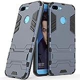 Funda para Huawei Honor 9 Lite (5,65 Pulgadas) 2 en 1 Híbrida Rugged Armor Case Choque Absorción Protección Dual Layer Bumper Carcasa con Pata de Cabra (Azul Negro)