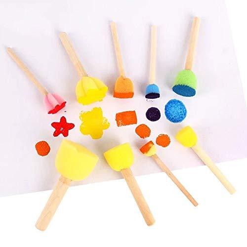 Malschwamm Schaumstoffpinsel für Kinder, Malschwämme, Werkzeug mit Hartholz-Griffen, DIY Kunst Basteln Set von 10 Stück