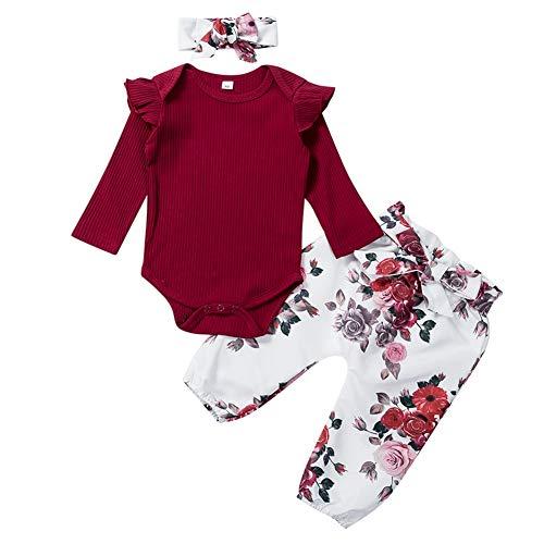 Geagodelia 3tlg Babykleidung Set Baby Mädchen Kleidung Outfit Langarm Body Strampler + Blumen Hose + Stirnband Neugeborene Kleinkinder Weiche Babyset T-28316 (0-3 Monate, Weinrot 488)