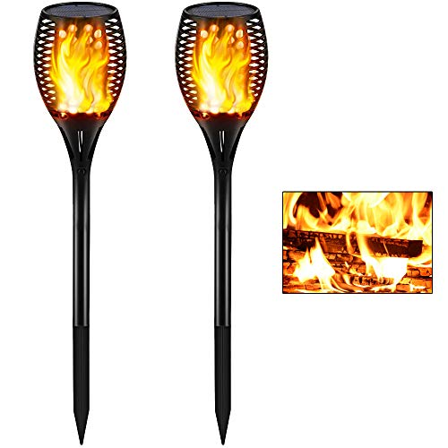 Gold Armour Solar Lights Outdoor - Flickering Flames Torch Lights Solar Light - Dancing Flame Lighting 96 LED Dusk to Dawn Flickering Tiki Torches Outdoor Waterproof Garden (2Pack)