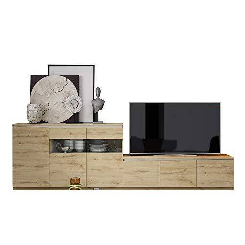Tousmesmeubles Composition TV Chêne Blond/Bois Blanc - Camelia n°1 - L 300 x l 45 x H 90 - Neuf